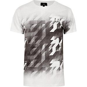 Zwart-wit T-shirt met geometrische print en kleurverloop
