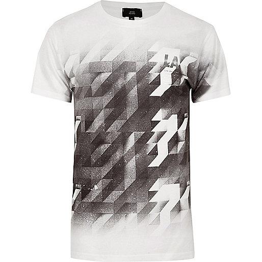 White mono geo print fade T-shirt