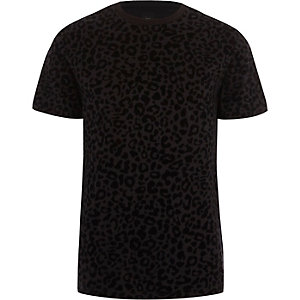Black leopard flock print slim fit T-shirt
