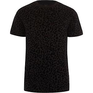 T-shirt slim imprimé léopard floqué noir