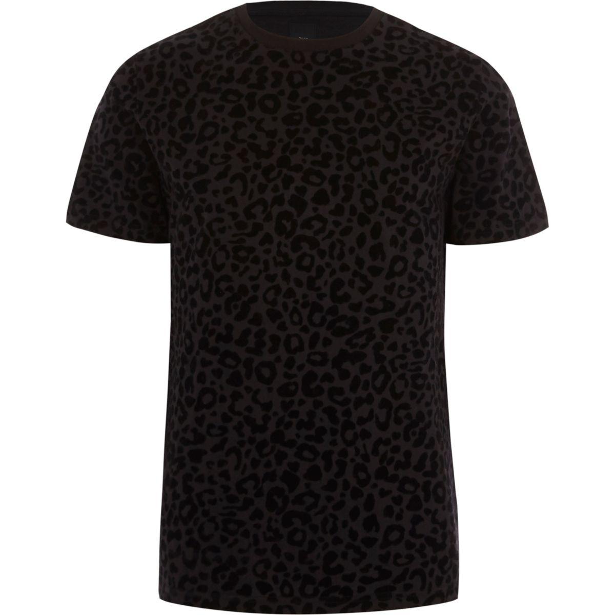 Zwarte slim-fit T-shirt met luipaardprint