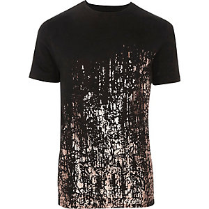 Zwart metallic slim-fit T-shirt met verfspatten