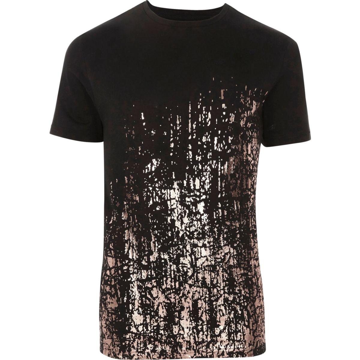 T-shirt slim noir métallisé motif éclaboussures à l'ourlet