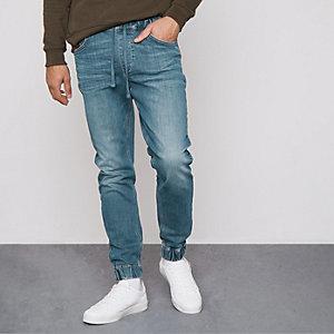 Ryan – Jean bleu délavage moyen style pantalon de jogging