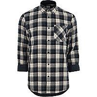 Grey long sleeve button-down check shirt