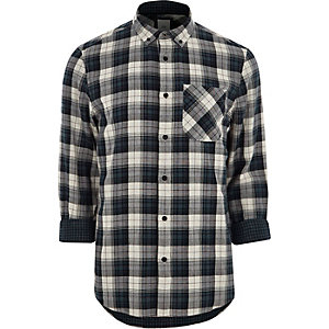 Grey long sleeve button-down check shirt