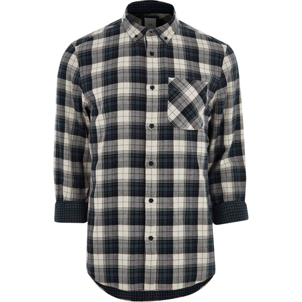 Grey long sleeve button down check shirt shirts sale men for Grey button down shirt