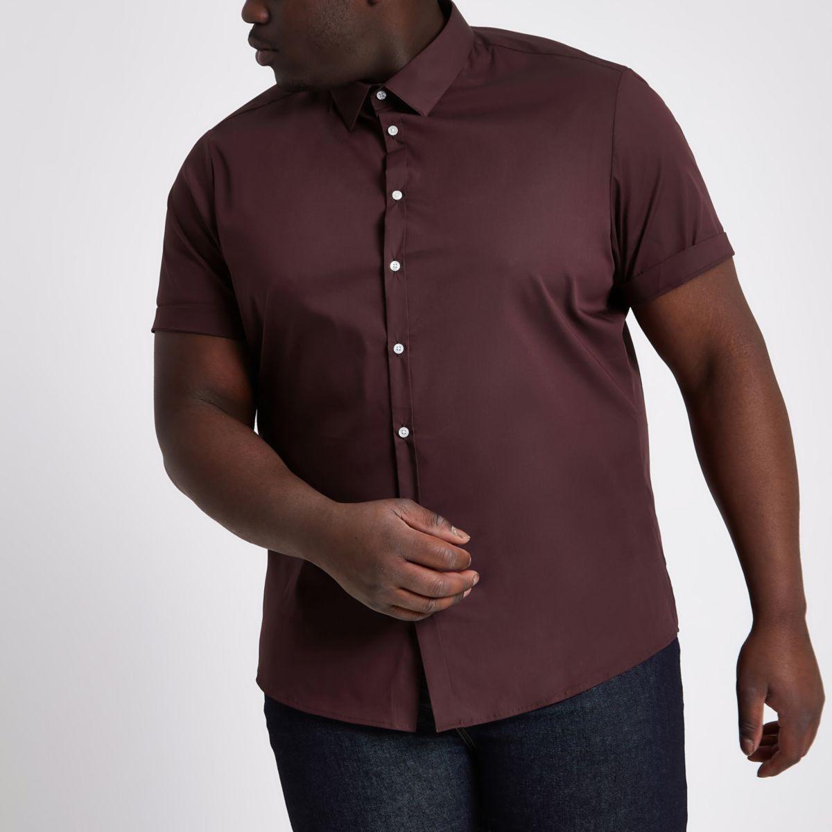 Dark purple Big and Tall short sleeve shirt
