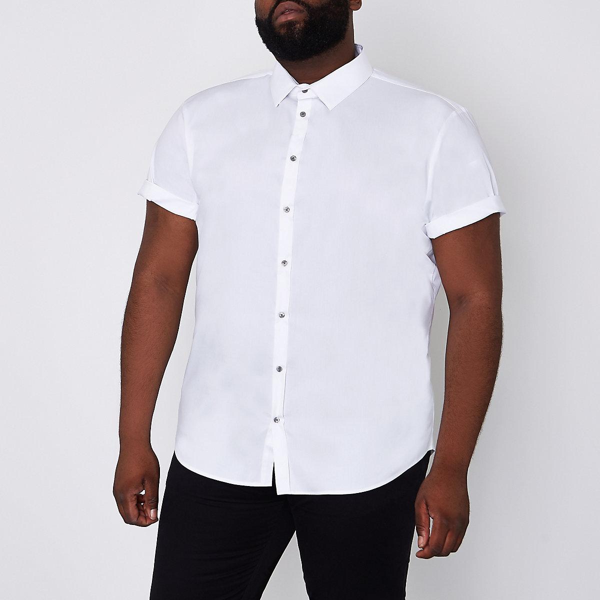 Big and Tall white short sleeve shirt