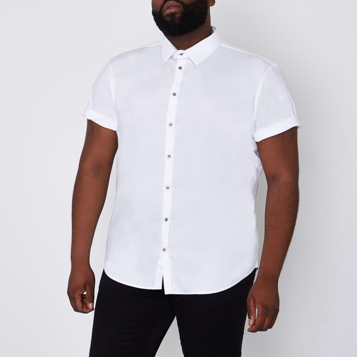 Big and Tall - Wit overhemd met korte mouwen