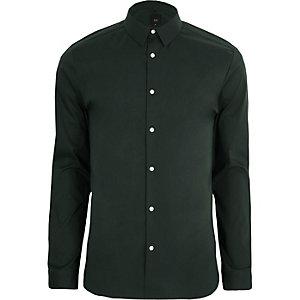 Chemise ajustée verte à manches longues