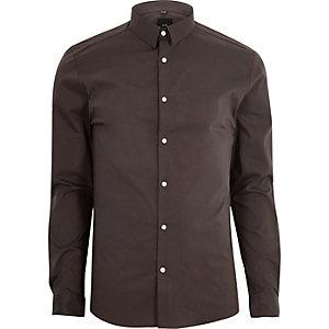 Chemise ajustée marron à manches longues