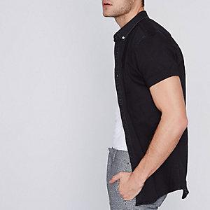 Chemise ajustée en jean noire à manches courtes