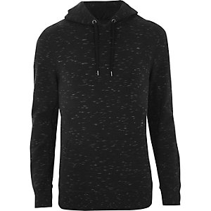 Black print muscle fit hoodie