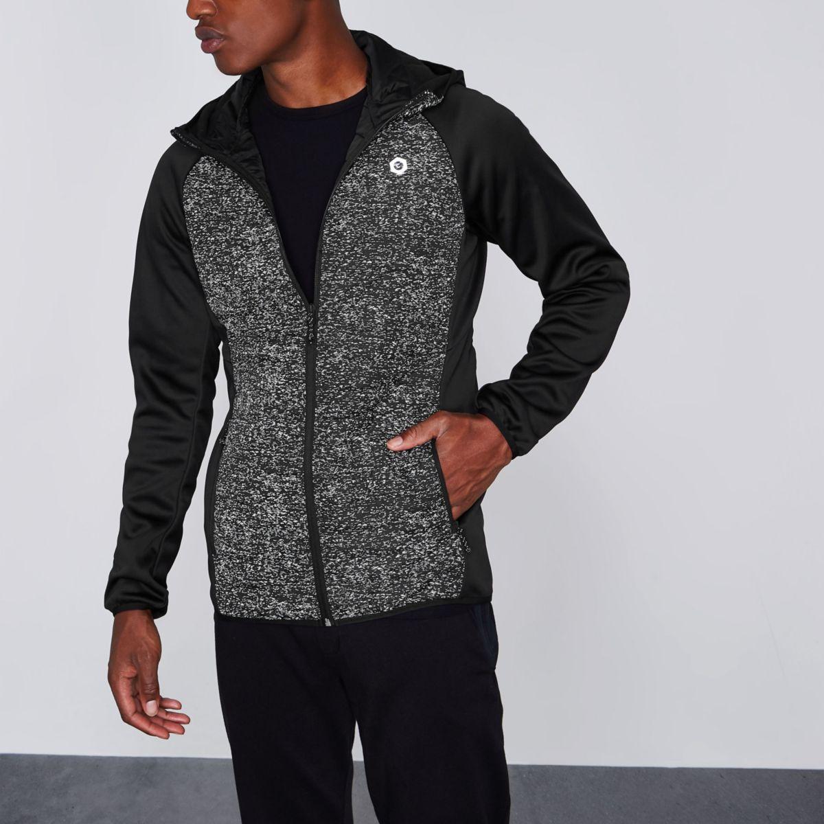 Jack & Jones Core - Zwarte hoodie met scuba mouwen