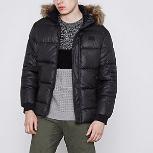 Jack & Jones Core – Schwarzer, wattierter Mantel