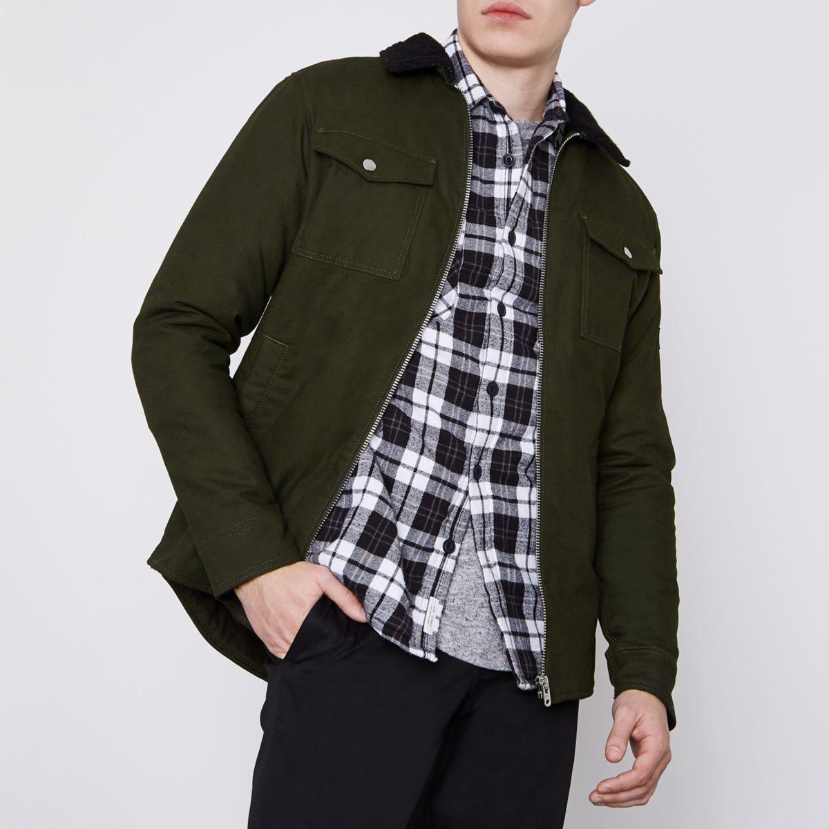 Jack & Jones Core dark green borg jacket