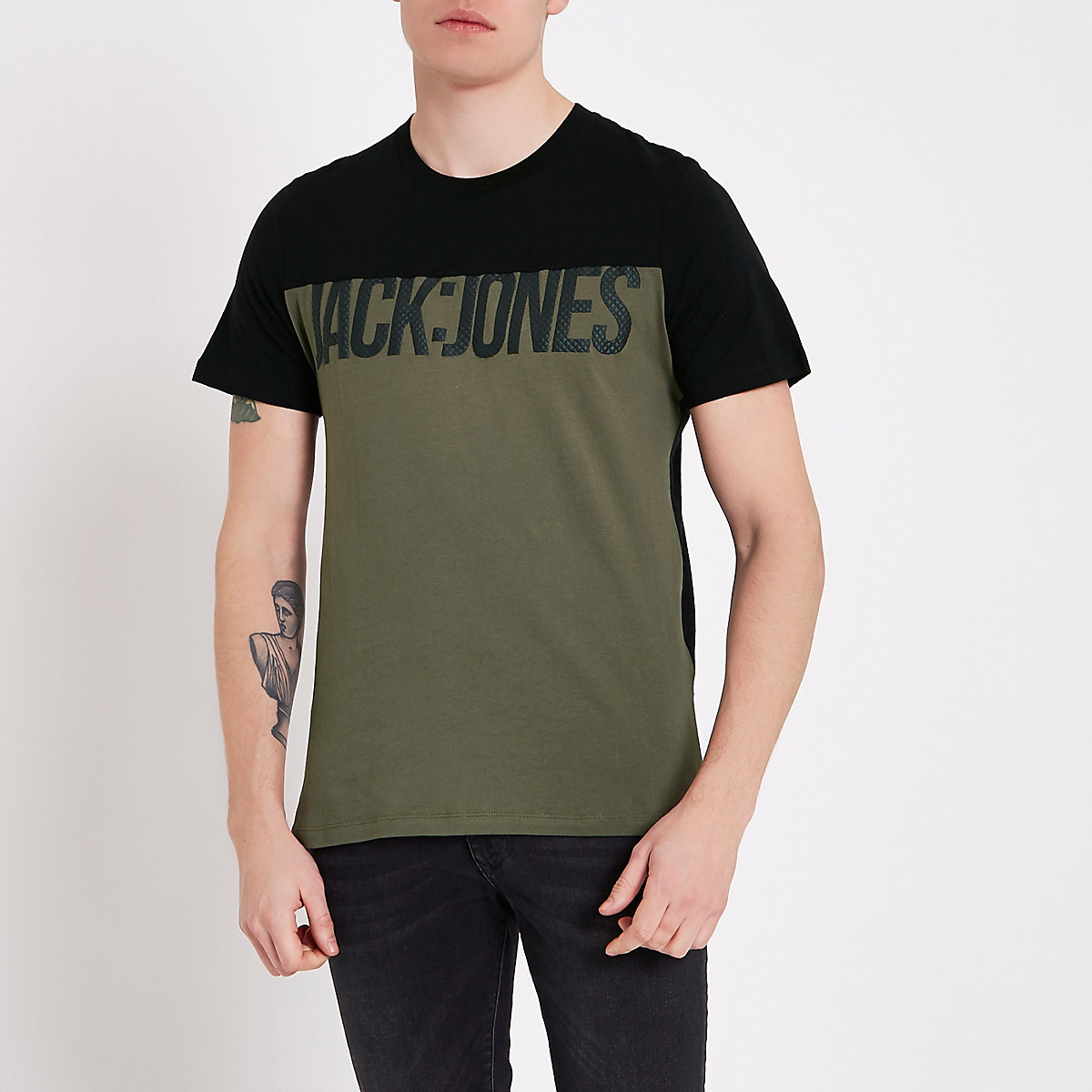 Jack & Jones core black crew neck T-shirt