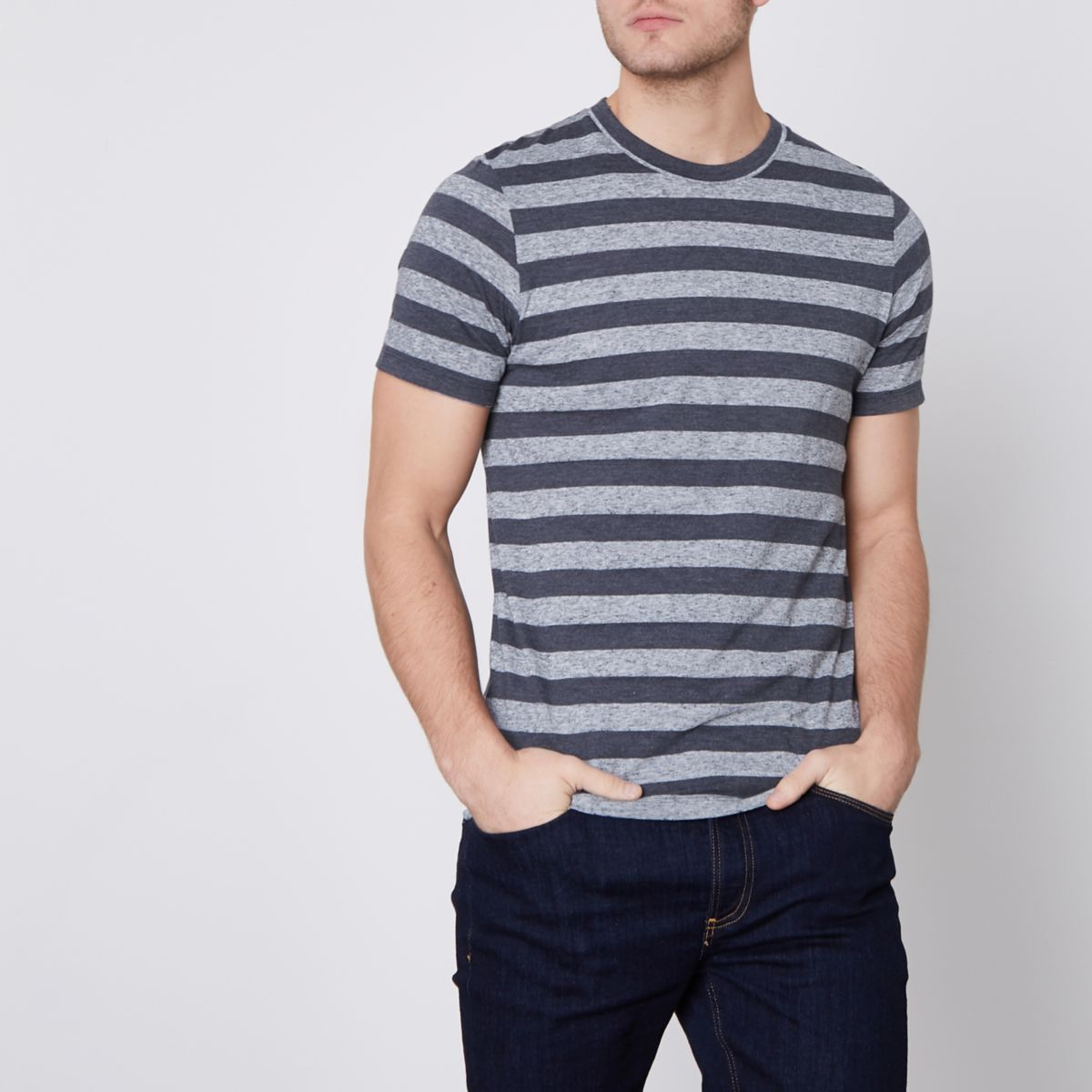 Jack & Jones Premium navy stripe T-shirt