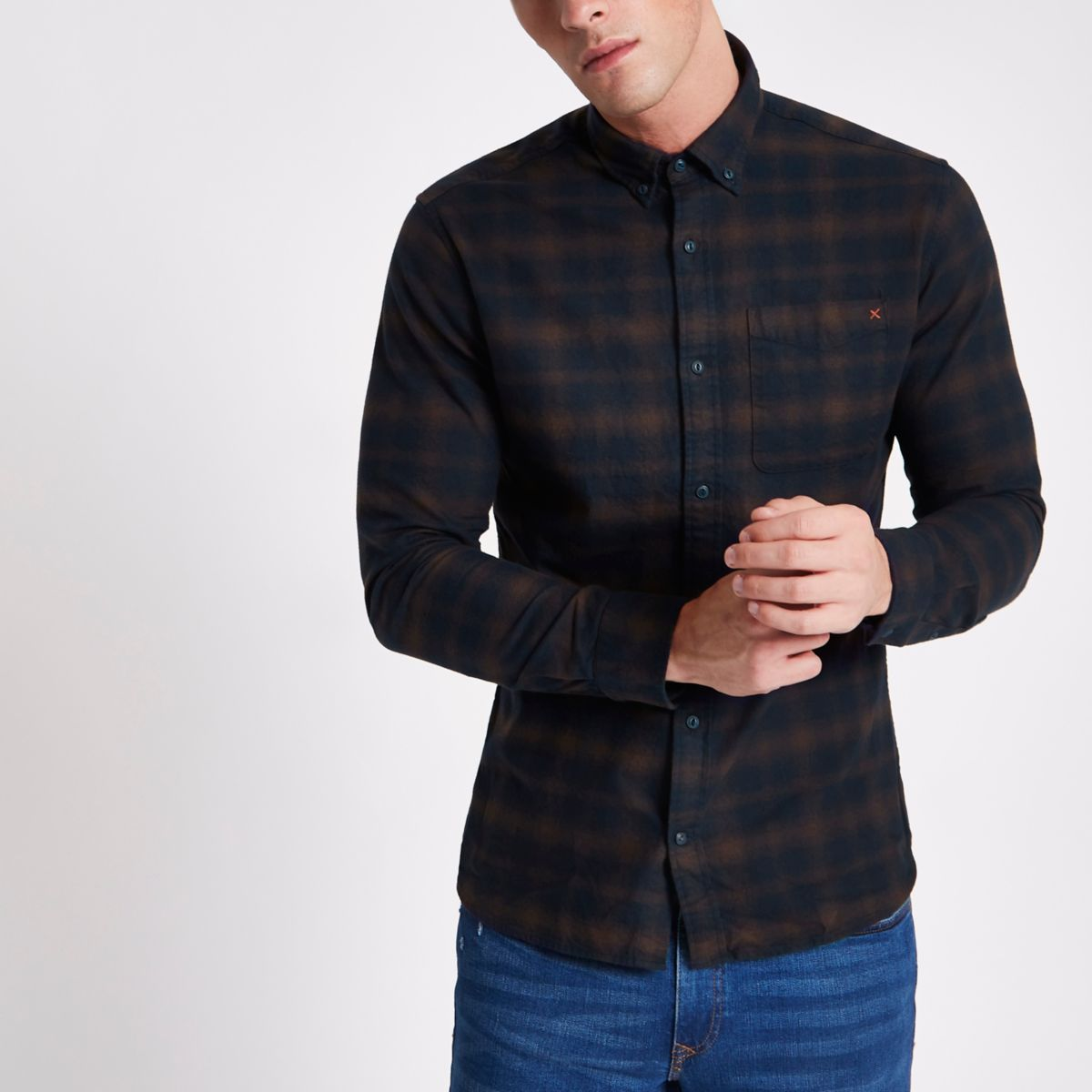 Tan and navy Jack & Jones Premium check shirt
