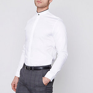 White Jack & Jones Premium slim grandad shirt