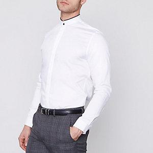 Jack & Jones Premium – Chemise slim blanche à col officier