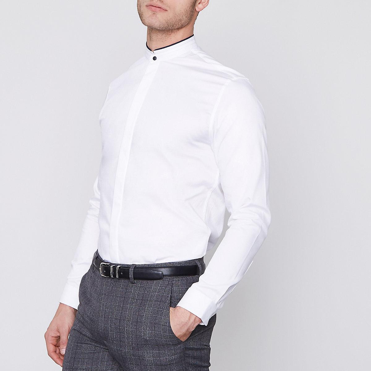 Jack & Jones Premium white slim grandad shirt