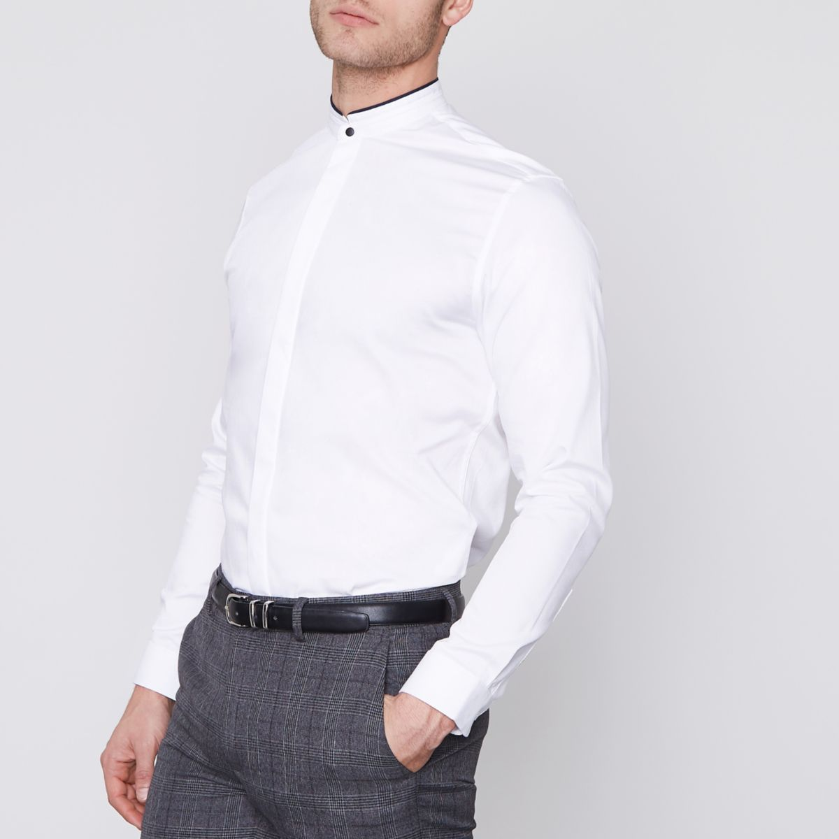 Jack & Jones Premium white slim grandad shirt