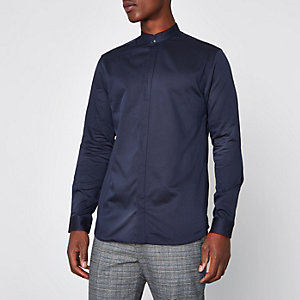 Navy Jack & Jones Premium slim grandad shirt