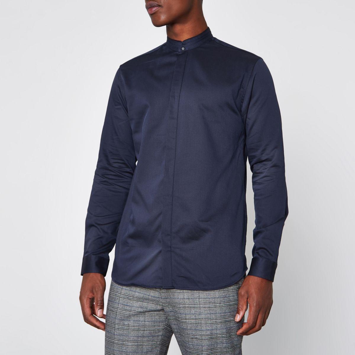 Navy Jack & Jones Premium slim grandad shirt