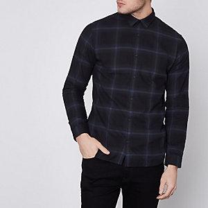 Jack & Jones Premium - Marineblauw geruit smal overhemd