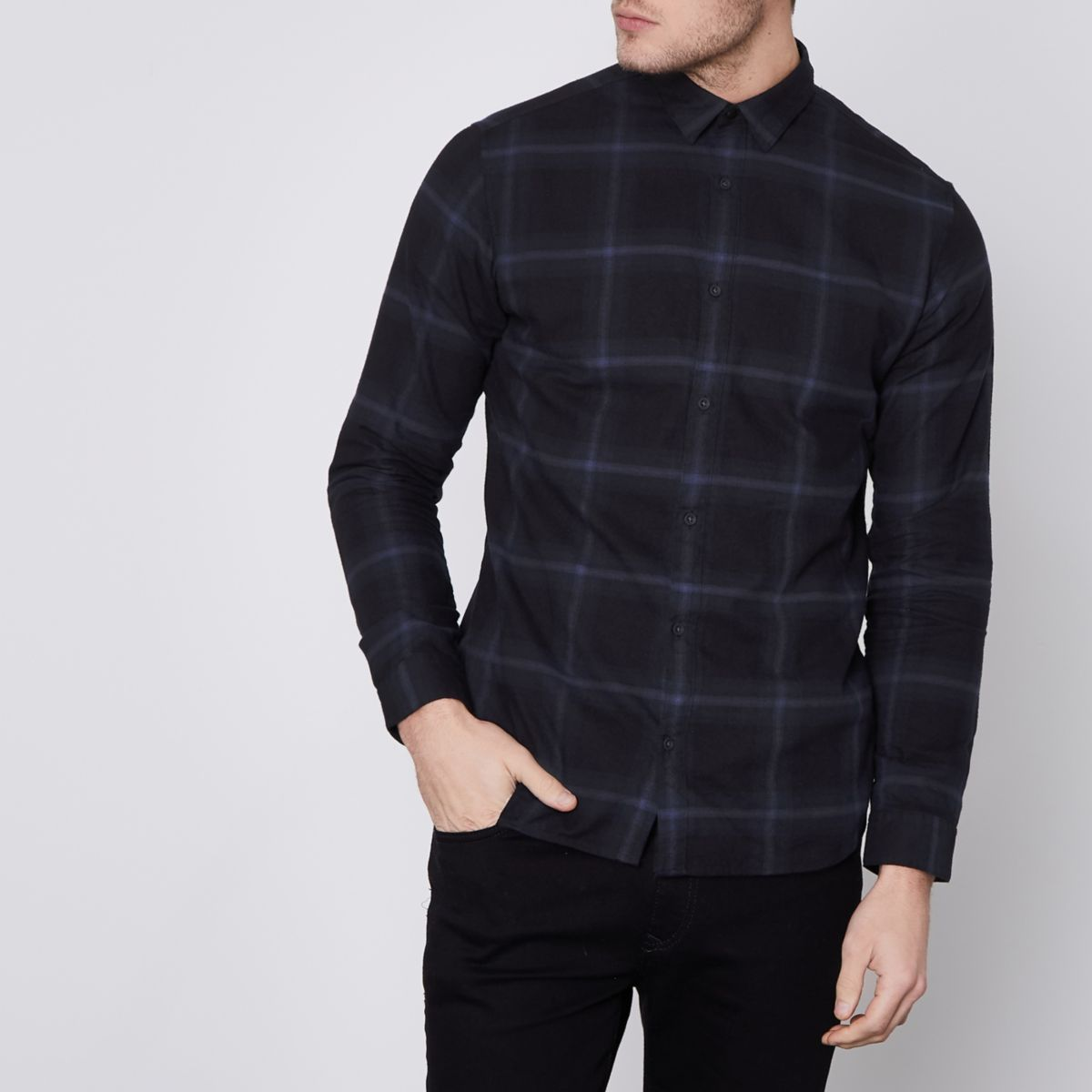 Jack & Jones Premium navy check slim shirt