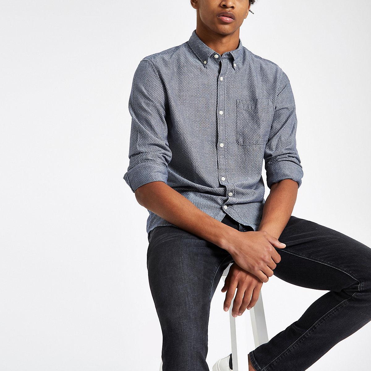 Jack & Jones Premium navy print slim shirt