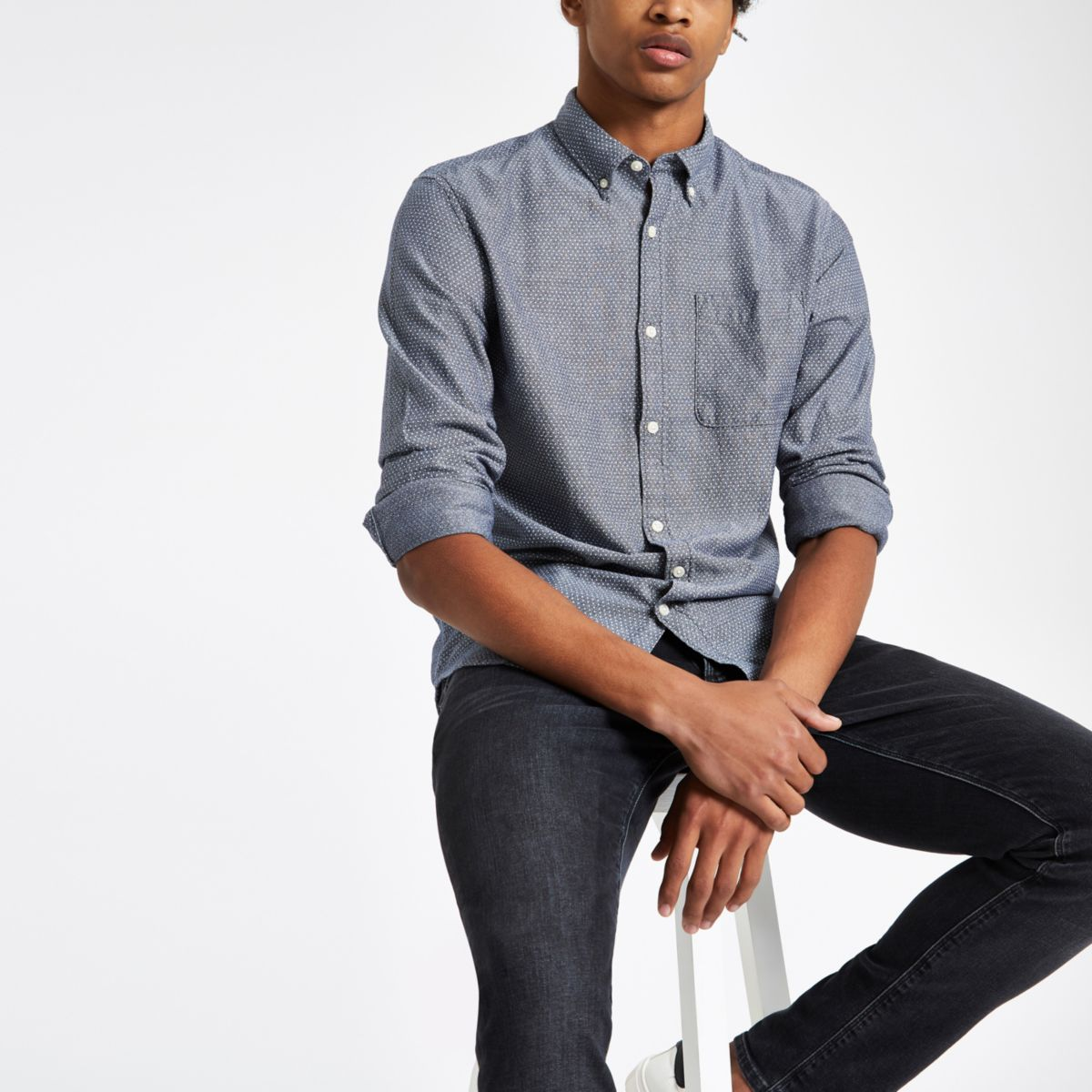 Jack & Jones Premium navy print slim shirt