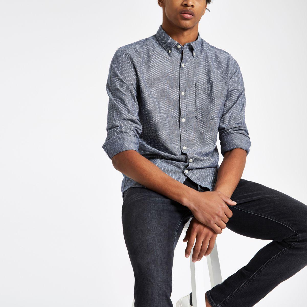 Navy Jack & Jones Premium print slim shirt
