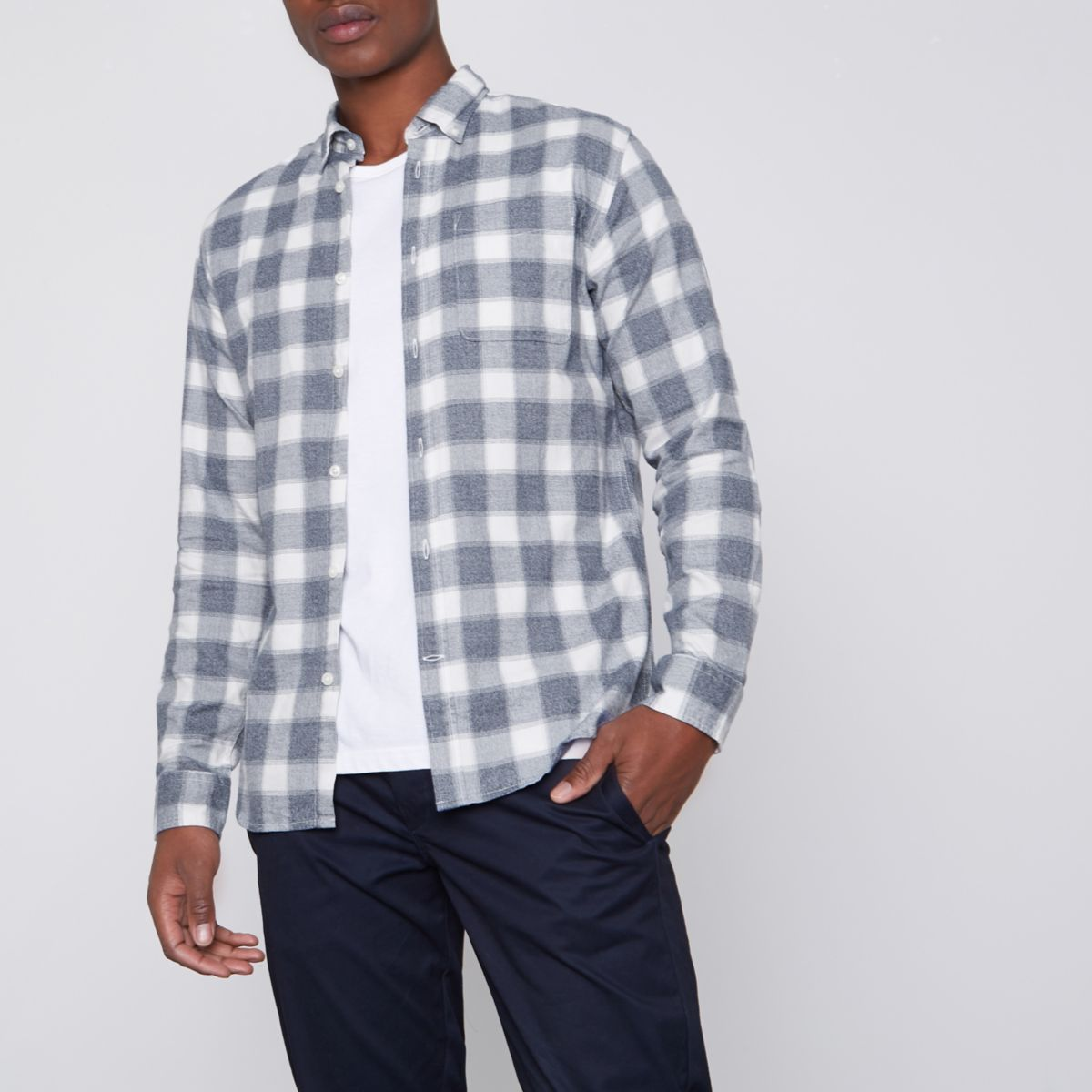 Grey Jack & Jones Premium check slim shirt