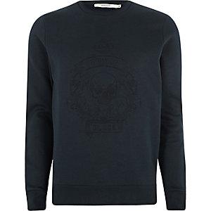 Jack & Jones Premium - Marineblauw sweatshirt met doodshoofdprint