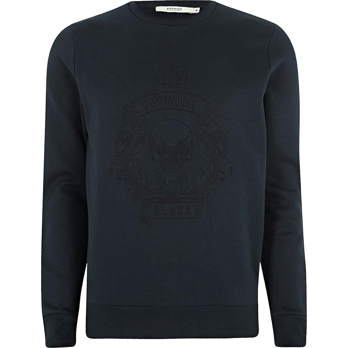 Jack & Jones Premium navy skull sweatshirt
