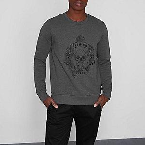 Jack & Jones Premium – Graues Sweatshirt mit Totenkopf