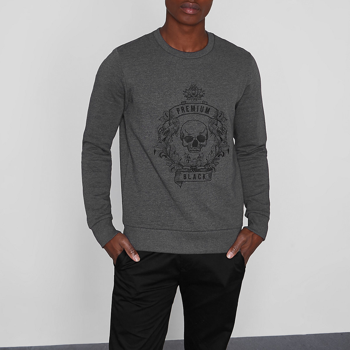 Jack & Jones Premium grey skull sweatshirt