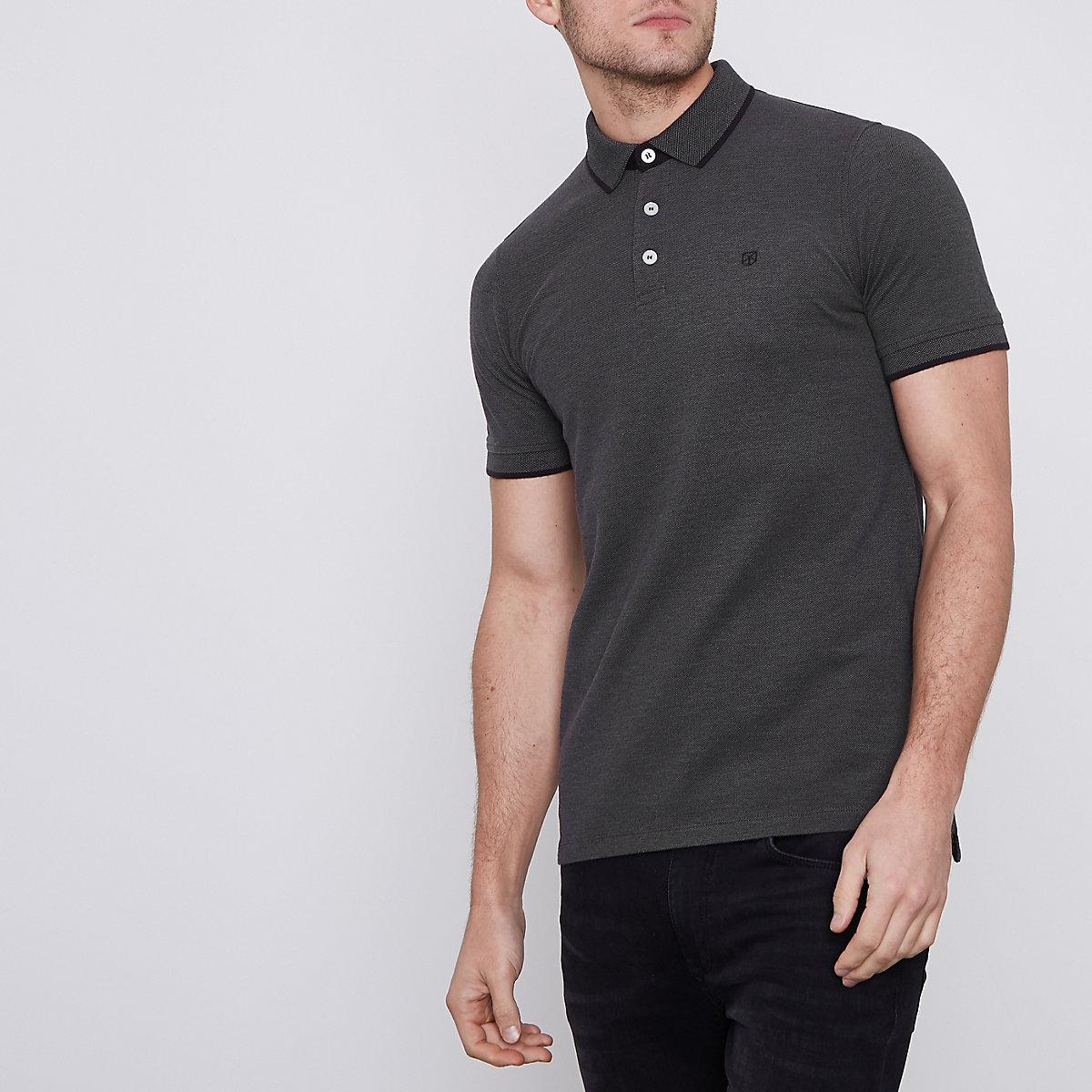 Jack & Jones Premium dark grey polo shirt