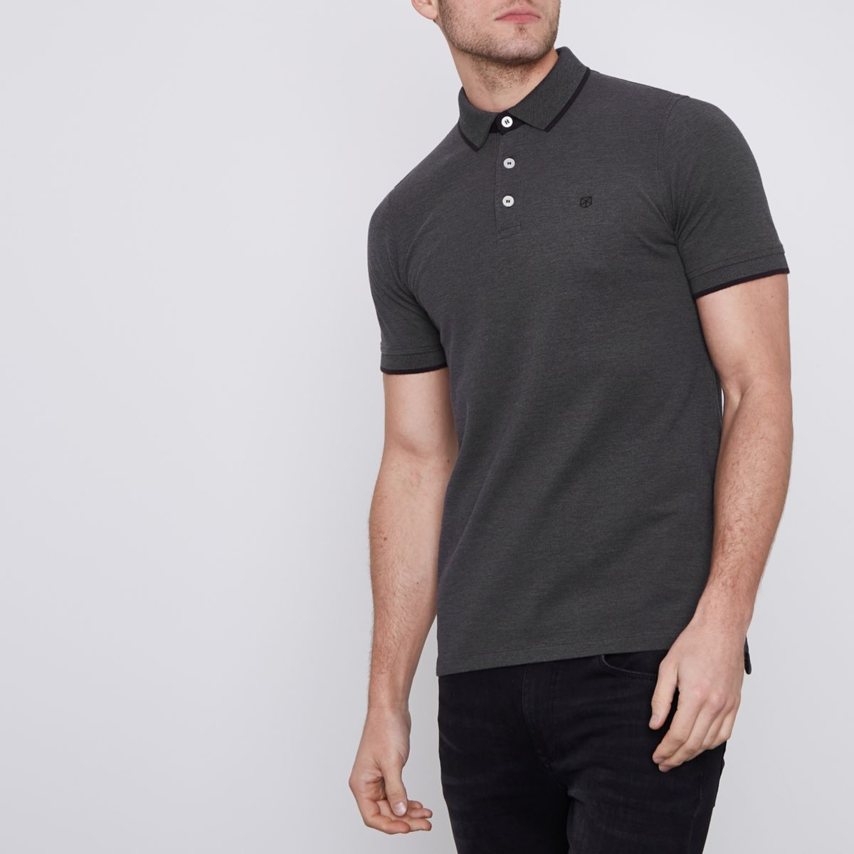 Dark Grey Jack Jones Premium Polo Shirt Polo Shirts Men