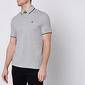 Jack & Jones Premium grey tipped polo shirt