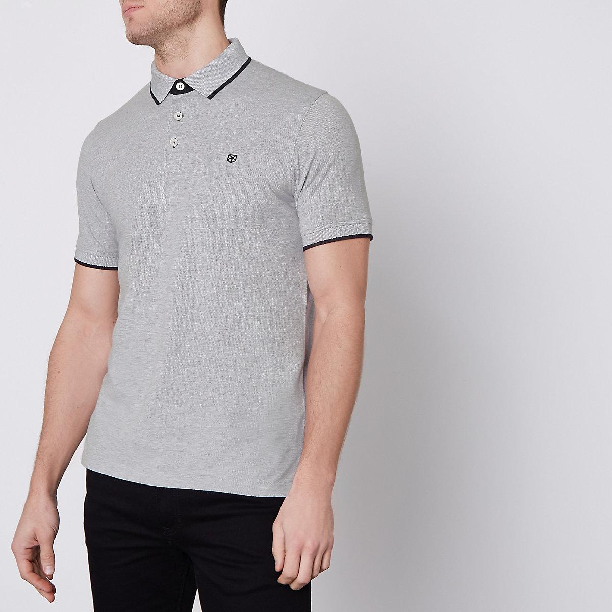 Jack & Jones Premium grey tipped polo shirt