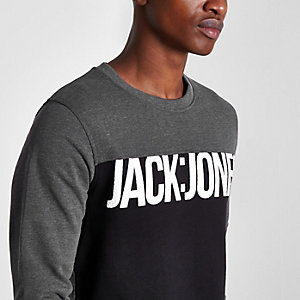 Grey Jack & Jones Core blocked sweatshirt