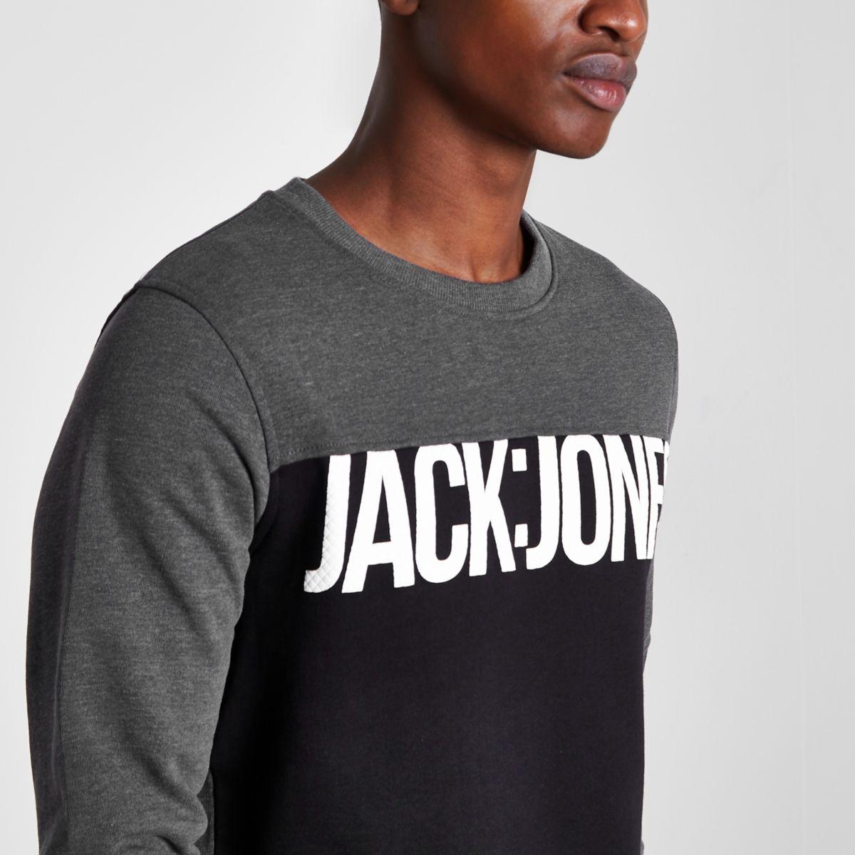 Grey Jack & Jones Core blocked sweatshirt