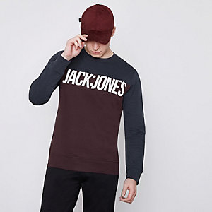Jack & Jones Core – Dunkelrotes Sweatshirt mit Farbblockdesign