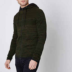 Jack & Jones Core green knit zip-up hoodie
