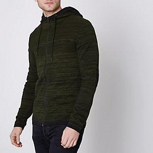 Jack & Jones Core green knit zip-up hoodie