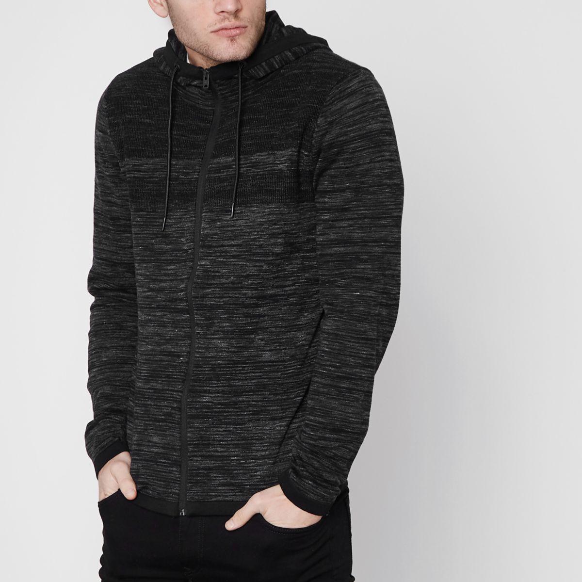 Jack & Jones Core dark grey hooded cardigan